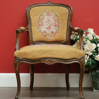 Antique French Ladies Chair Armchair, Tapestry Seat, Hall Armchair Lounge Chair