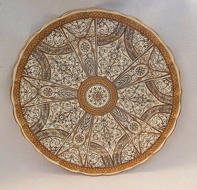 Rare ANTIQUE ROYAL WORCESTER TIFFANY STYLE SCALLOPED PLATE GILDED 1901