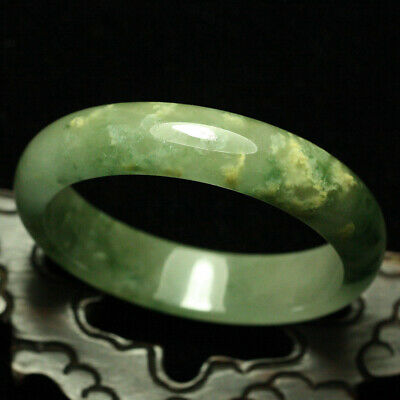 57mm Certified (Grade A) Natural ice Green Jadeite JADE Bracelet Bangle 1489