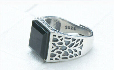 B14 Men's Ring Square Nephrite Tintenjade Sterling Silver 925 Adjustable