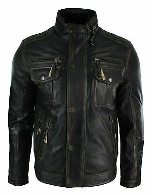 Mens Distressed Ruboff Black Brown Vintage Retro Military Leather Jacket Casual