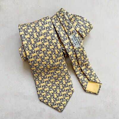 Hermes Vintage Silk Tie 7303 | Yellow Horsehoes Print | FLAWS Read Description