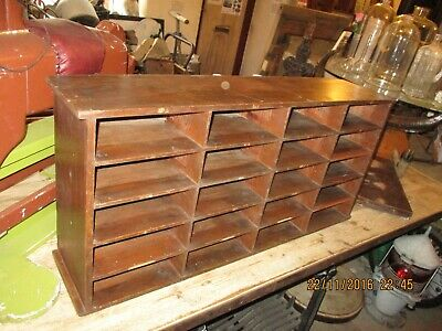"""Vintage wooden pigeonholes in-tray letter rack A4 filing 38""""x18""""x9"""""""