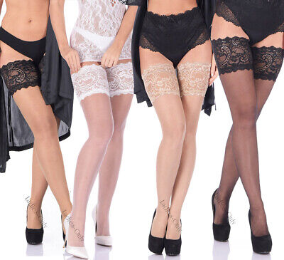 Deep Lace top Hold ups 20 den Sheer XS-XL New Stockings
