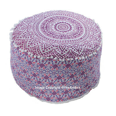 Ethnic Round Floor Pillow Cover Indian Ombre Mandala Ottoman Pouff Cotton Pouffe