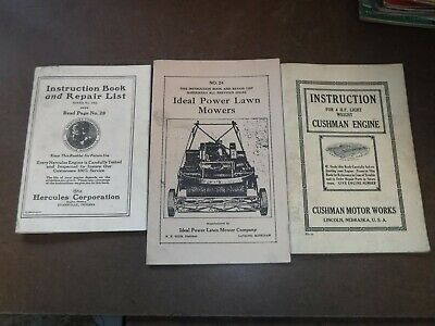3 Old Hercules, Cushman, Ideal Engine Instruction Manuals Gas Engine