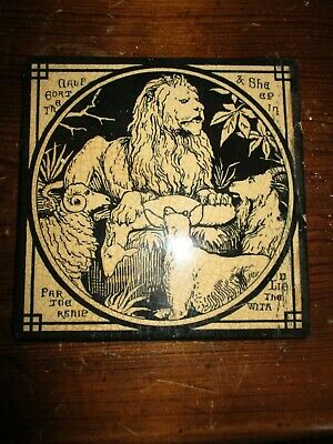 Mintons China Works Aesop's Fables 'Goat Calf and Sheep with Lion' Antique Tile