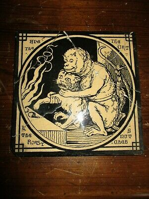 Mintons China Works Aesop's Fables 'The Ape and The Cat ' Antique Tile