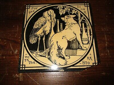 Mintons China Works Aesop's Fables 'The Fox and Stork ' Antique Tile