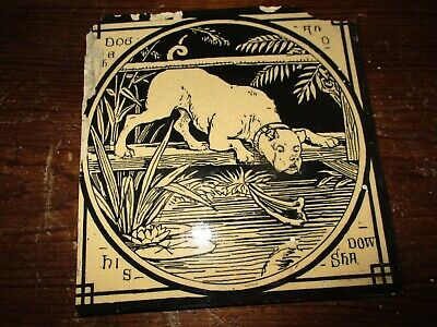Mintons China Works Aesop's Fables 'The Dog and his Shadow ' Antique Tile No2