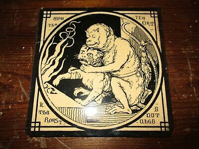 Mintons China Works Aesop's Fables 'The Ape and the Cat ' Antique Tile No2
