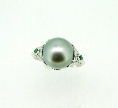 Art Deco 14k White Gold Pistachio Grey South Sea Pearl Ring (#J5037)
