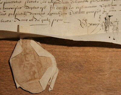 1575 manuscript latin parchment wax seal catolic doctor capacity italian notes