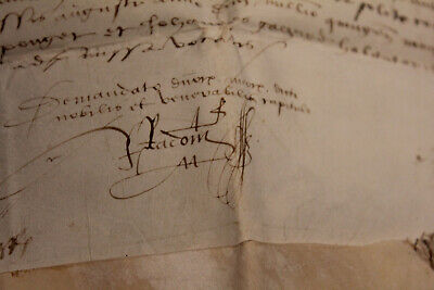 large c1400 latin manuscript document parchment amazing signatures