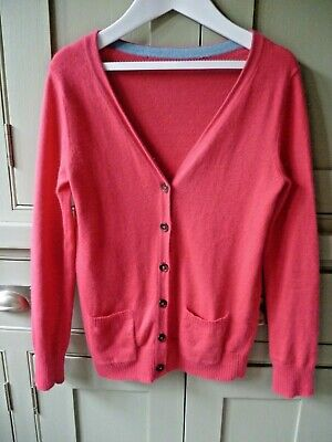 Mini Boden girls age 10-11 watermelon pink soft cashmere mix cardigan ex cond
