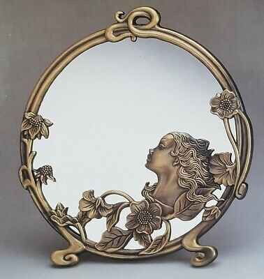 NEW BOXED Art Deco / Nouveau Brass LADY Vanity Table MIRROR by Andrea Sadek