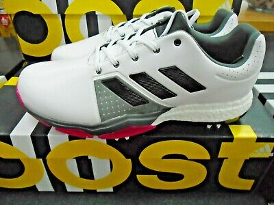 New Men`s Adidas Adipower Boost 3 Golf Shoes Q44761 White/Black/Pink Size 12 US
