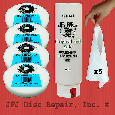 JFJ Original POLISH COMPOUND #2 WHITE 12oz + 4 BUFFING PAD Easy Pro/PLUS 5 CLOTH