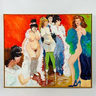 "Original Oil Painting On Canvas Nude Burlesque Ladies. Signed. Large 36""x30"""