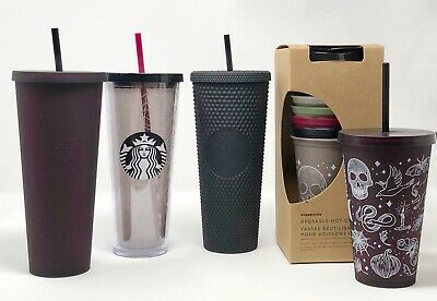 NEW Starbucks Halloween 2019 Tumbler Set Black Studded Reusable Skull Spiderweb