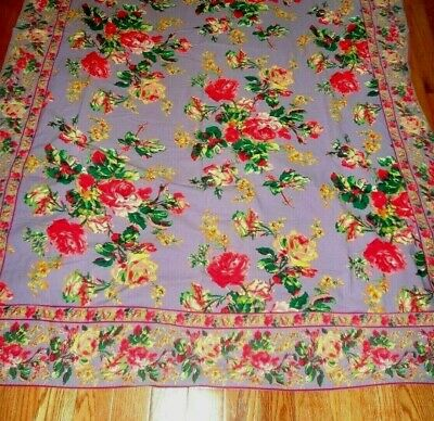 "APRIL CORNELL TABLECLOTH VICTORIAN ROSE 56"" x 84"" RED FLORAL BORDER NEVER USED"
