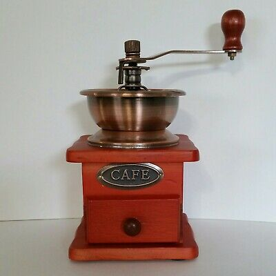 Cafe Coffee Grinder Red Orange Copper Hand Crank Grind Settings with Drawer