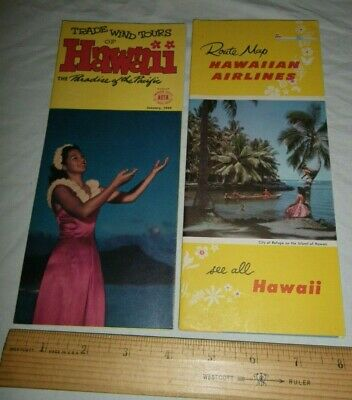 2 Vtg Route Map Hawaiian Airlines Trade & Tours Hawaii Paradise Pacific Brochure