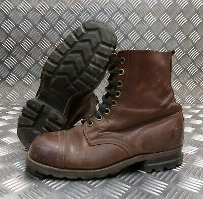 Genuine Vintage Leather WWII 1943 Brown 8 Hole leather Sole Boots Eur 41