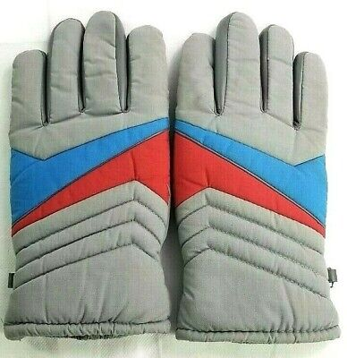 Vintage Ski Thinsulate Thermal Insulation Snow Gloves Adult 80's Gray ++++