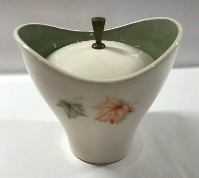 Vintage Off-White & Pea Green Sugar Bowl with Lid Mid Century Modern