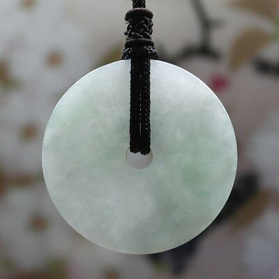 Certified Natural Grade A Icy Light Green Jadeite Jade Circle Donut Pendant #934
