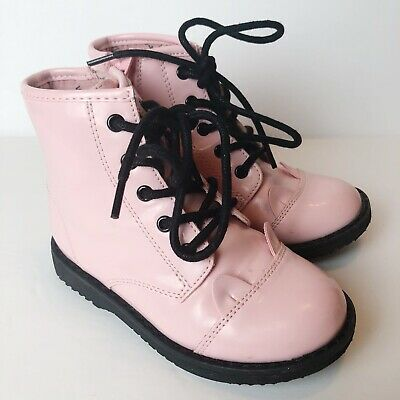 The Children's Place TCP Girls Size 9 Pink Patent Bunny Combat Zip Lace Up Boots