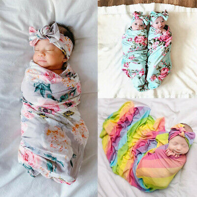 Newborn Baby Floral Swaddle Blanket Receiving Blanket Swaddle Wrap Headband