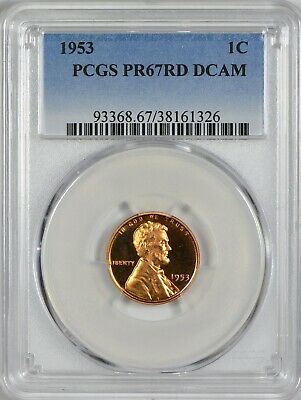 1953 Lincoln Cent PCGS PR67 Red Deep Cameo - Pop 10 Just One Finer