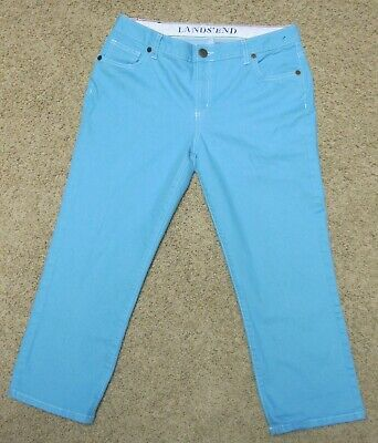 Lands End Lightweight Turquoise Cropped Capri Jeans Size 10