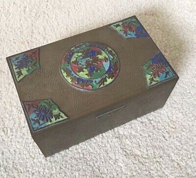 Antique Chinese Multi-color Cloisonne Decorated Bronze Box Wood Lined Etching