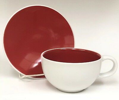 Crate & Barrel Matte White Red Interior Coffee Mug Cup with Saucer Plate HTF