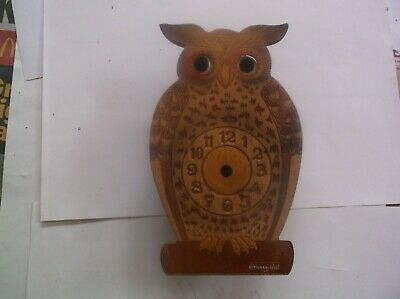 Small Owl Clock Case Moving Eyes (Wooden Case Only)For Restoration