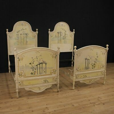 Beds lacquered pair of furniture in painted iron antique style Liberty bedroom