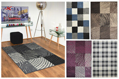 Small Large Modern Design Soft Thick Highland Checked Rugs Quality Runner Mats