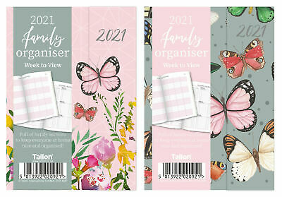 2020 Ladies Family Organiser & Diary, Butterfly Or Flower Week To View A6 Or A5