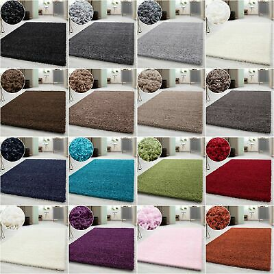Small - Extra Large Size Thick Modern Plain Non Shed Soft Shaggy Carpets