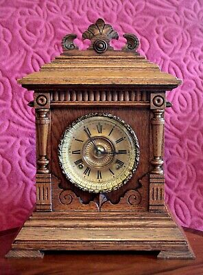 "Antique American ""Ansonia"" 8-Day Castle Shape Oak Case Striking Mantel Clock"