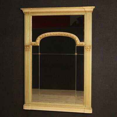 Mirror mantelpiece furniture in wood fireplace antique style Louis XVI frame