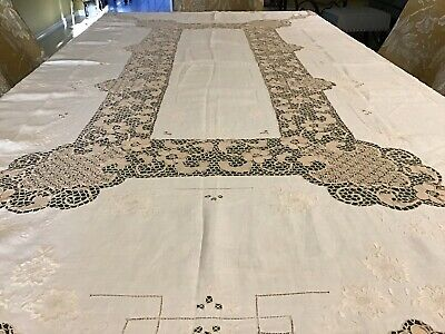 Beautiful Linen Tablecloth With Hand Made Lace Point De Venice