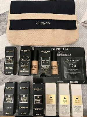 Guerlain paris makeup bag with 10 Guerlain skincare/cosmetic products Brand New