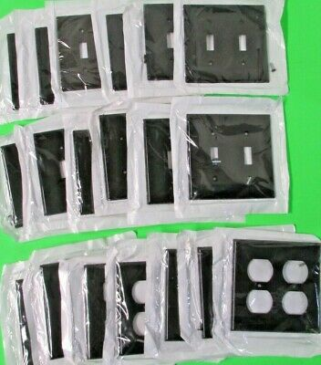 Lot of 19 Leviton Black (12) 2-Gang Switch & (7) Double Outlet Cover Switchplate