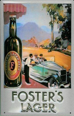 Fosters Lager (car) embossed steel sign 300mm x 200mm (hi)
