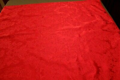 Avon Home Products Red Brocade Flowered Tablecloth 58 x 78 Preowned