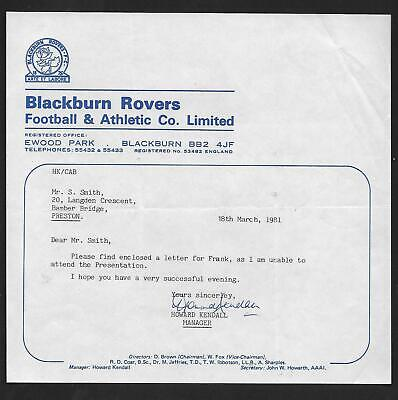 Blackburn Rovers F.c 1981 Howard Kendall (Manager) Autograph Club Letterhead